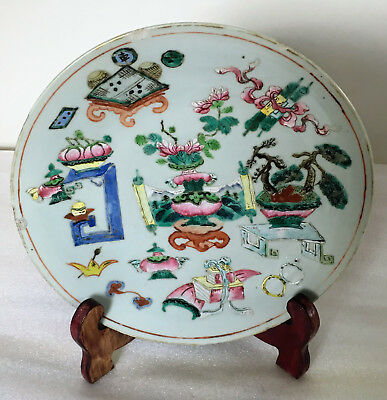 """A 10.8"""" C18/19th Chinese Cantonese Famille Rose Enamel Antique Objects Charger"""