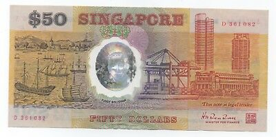 SINGAPORE $50 Comm 25th Anniversary Independence 1990 Circulated Fine Very Rare!