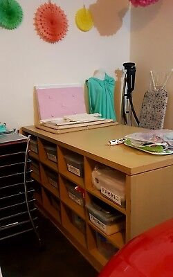Heavy Solid Office Work Pattern Craft Cutting Table with storage. Make an Offer.