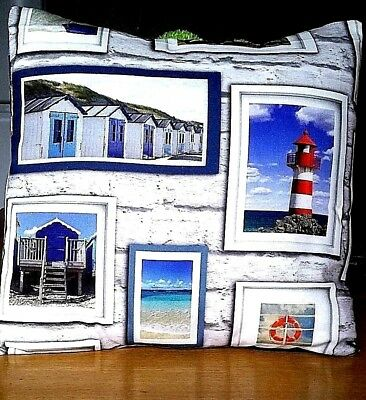 "Seaside Cushion Covers, Size 16"" x 16"" with Lighthouse, Beach Huts."