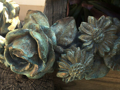 Antique French Salvage Bronze Rose Floral Pediment Outdoor Art  Fountain