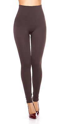 Sexy High Waist Leggins Thermo Legging push up flacher Bauch Taupe 34 36 38