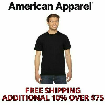 American Apparel Men's T-Shirt Crew Neck Cotton Tee Fine Jersey 2001W 39 Colors
