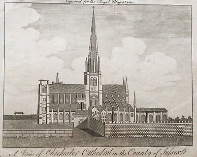 1767 Antique Rare Print; Chichester Cathedral, Sussex, from the Royal Magazine