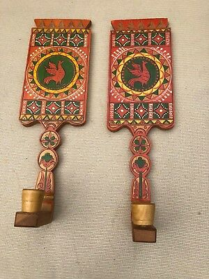 vintage wood candle sconce pair Folk Art Style Painted Red Bird Swedish Mexico