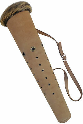 New Traditional Suede Tan Leather Back Arrow Quiver Archery Products Aq168.