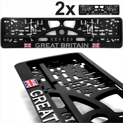 2x Black Number Plate Surrounds Holder Chrome GREAT BRITAIN gel Union Jack Flag