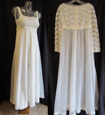 Vintage Collectable Virginia Wallace Ivory Bridal Trousseau Peignoir Set - S/32
