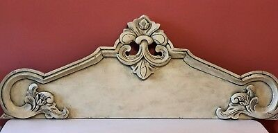 "42"" French Antique Hand Carved Pediment Architectural - Fleur De Lis Shabby Chic"