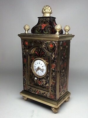 Rare Early / Mid 19th Century Miniature French Boulle Bracket Clock. Not Fusee