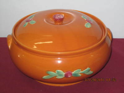 "Coors Pottery. ""rosebud - Orange"". Covered Casserole  --  Rare"