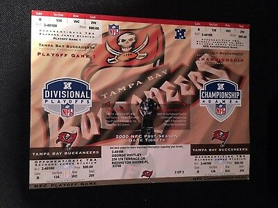 Tampa Bay Buccaneers Unused 2000-2001 Nfc Playoff Championship Uncut Tickets