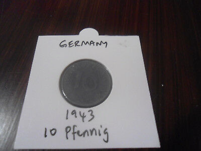 1943 Germany 10 Pfennig coin German ten pfennigs ZINC Reich