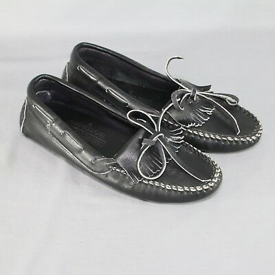 Minnetonka Moccasins Black Slip On Leather Shoes 7 Tassel Loafers Made In USA