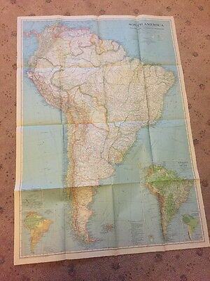 Vintage map. South America National Geographic, Original, circa 1937