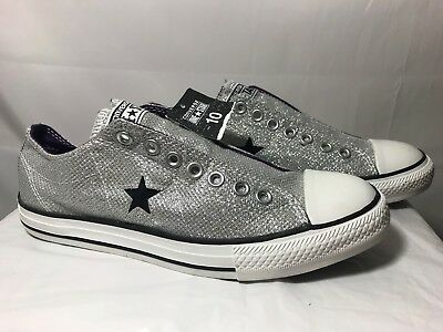 Converse One Star women's glitter/metallic silver shoes sneakers size US10 rare