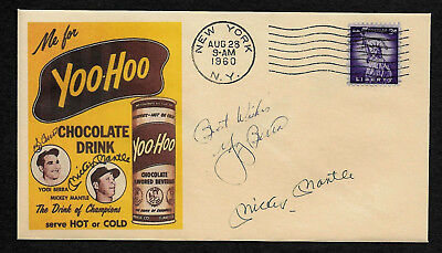 1960 Mickey Mantle Yoo-Hoo Drink Ad Featured on Collector's Envelope *OP513