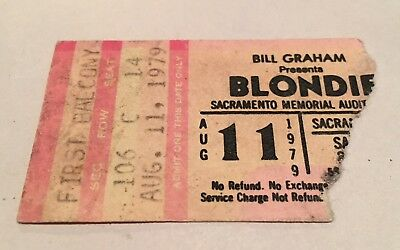BLONDIE Concert Ticket Stub August 11, 1979 SACRAMENTO CALIFORNIA USA