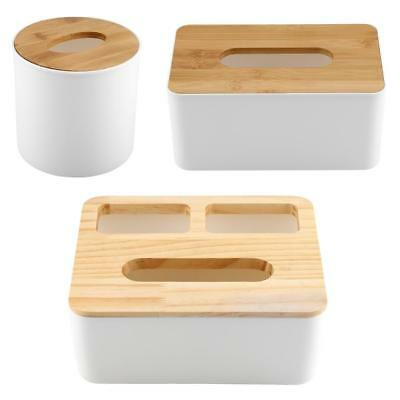 Bamboo Wood Tissue Box Cover Paper Holder Storage Home Decor Office Vintage