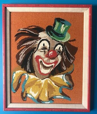 Vintage Mid Century Art Needlepoint Framed Large Clown Kitsch Picture