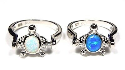 Reversible Blue & White Fire Opal Solid 925 Sterling Silver Turtle Ring sz 6 - 9