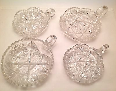 Lot of 4 ABP American Brilliant Period Nappy Candy Dish Dishes Antique Cut Glass