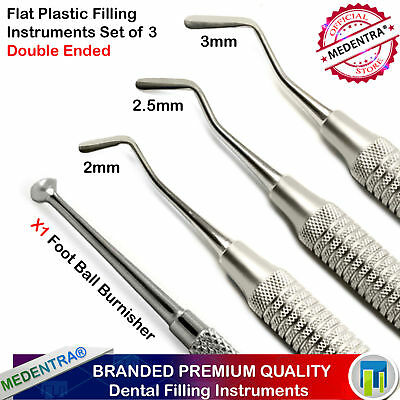 Set of 4 Dental Filling Instruments Flat Plastic Filling Spatula Ball Burnisher