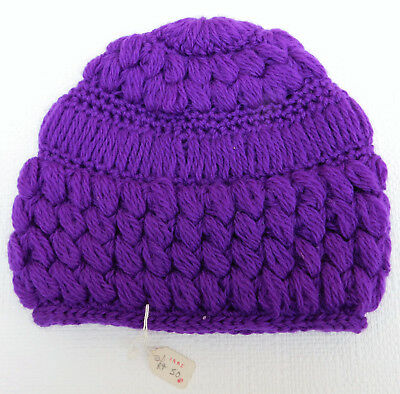 Vintage crocheted hat UNUSED bright purple girls children teenagers 1960s 1970s