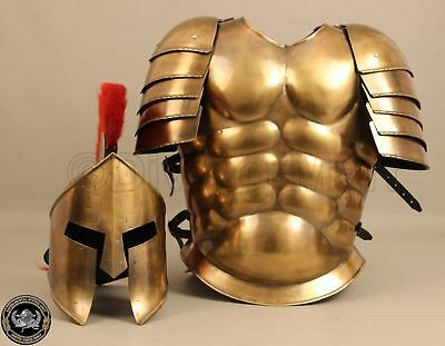 Medieval Muscle Armour Suit Spartan Helmet Halloween Costumes Brass Finish
