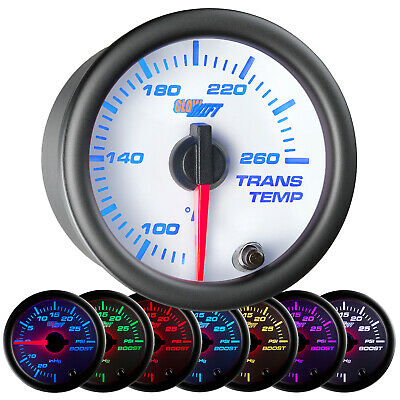 52mm GlowShift 7 Color Trans Temp Temperature Gauge w. White Face