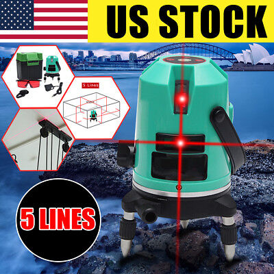 Automatic 5 Line Laser Level Red Self-Leveling 360° Rotating Cross Measure