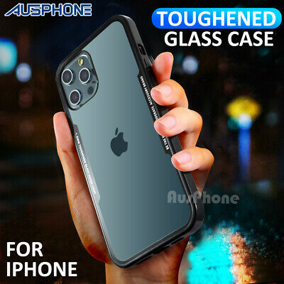 Apple iPhone XS Max XR X 8 7 Shockproof  Hybrid Toughened Glass Back Case Cover