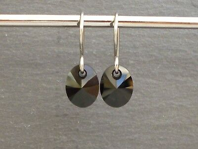 Genuine Austrian Crystal Surgical Steel 10mm Oval Drop Earrings ~ Jet