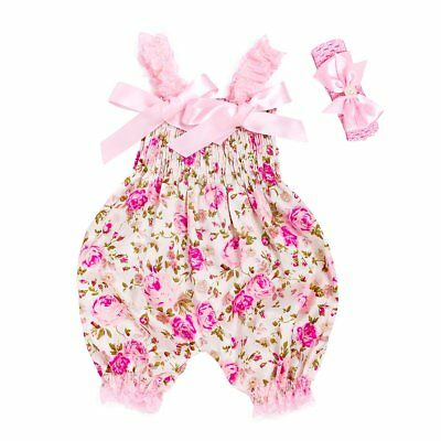 Newborn Baby Girl Flower Romper Bodysuit Jumpsuit Headband Outfit Clothes Summer
