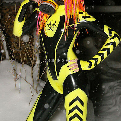 New 100% Latex Rubber Yellow with Black All-body Suit Bodysuit Catsuit XXS-XXL