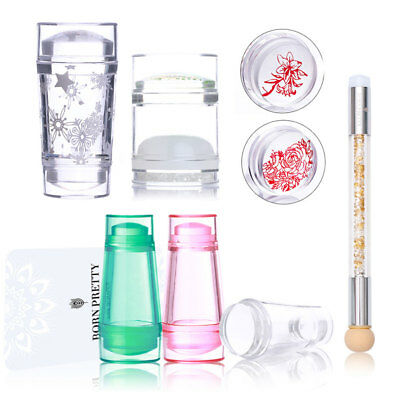 Dual-ended Clear Jelly Silicone Nail Stamper Scraper Tool for DIY Stamping Plate