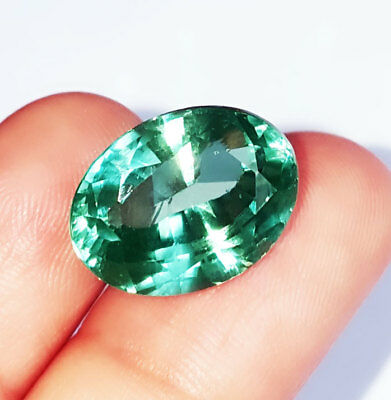Oval Shape 15.82 Ct Loose Gemstone Lab Created Brazilian Emerald