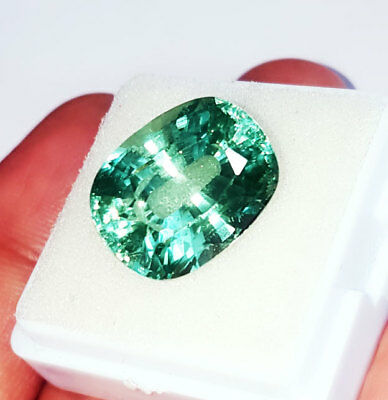 Cushion Shape 15.12 Ct Loose Gemstone Lab Created Brazilian Emerald