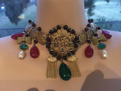 Antique Vintage French Empire Gothic Brass Glass Emerald Ruby art deco Necklace