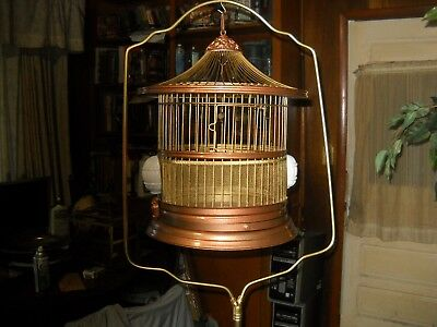 vintage antique hendrix  victorian style bird cage and cast iron stand owl motif