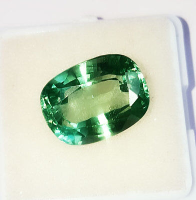 Loose Gemstone Cushion Shape 13.02 Ct Lab Created Brazilian Emerald