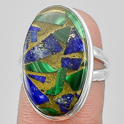 Malachite with Lapis 925 Sterling Silver Plated Ring Jewelry s.6.5 MR01587