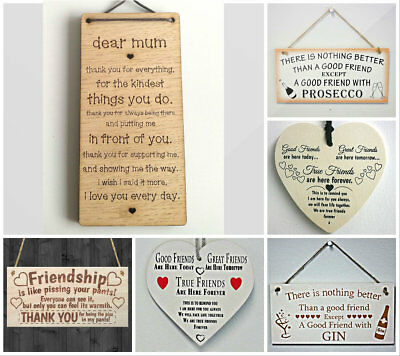 Friendship Best Friend Gin Plaque Gift Shabby Chic Wood Hanging Heart Thank You