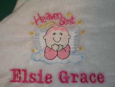 Baby Blanket Embroidered Personalized Monogrammed  Stroller Car, Gift 4 colors