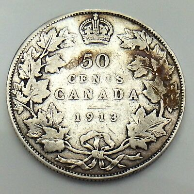 1913 Canada 50 Fifty Cents King George Half Dollar Canadian Circulated Coin G063
