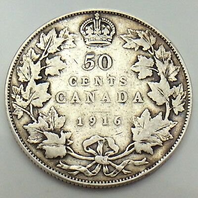 1916 Canada 50 Fifty Cents Half Dollar King George Canadian Circulated Coin G069