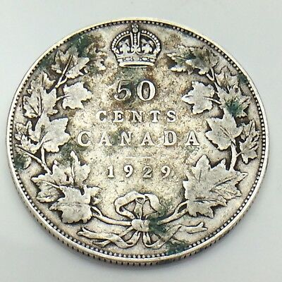 1929 Canada 50 Fifty Cents Half Dollar King George Canadian Circulated Coin G070