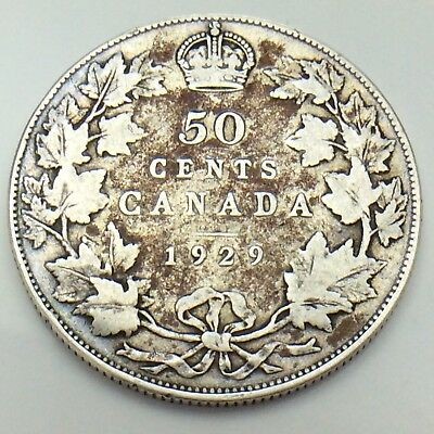 1929 Canada 50 Fifty Cents Half Dollar King George Canadian Circulated Coin G071