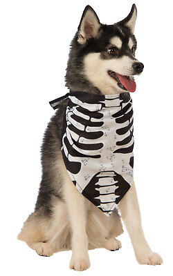 Skeleton Bandana Halloween Fancy Dress Costume Outfit Dog Pet Animal S To L