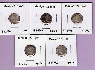 5 Mexico 1/2 half real silver, 1812 1816 1817 1819, and 1821 five colonial coins
